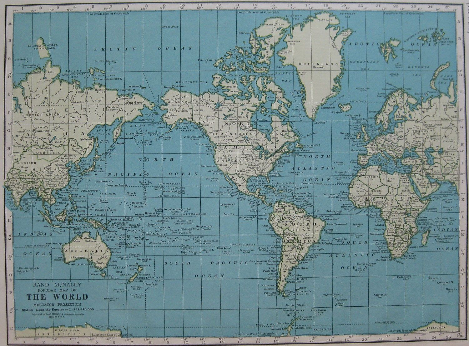 Vintage world map 1940s antique map from 1947 atlas unusual color vintage world map 1940s antique map from 1947 atlas unusual color plaindealing 876 1295 gumiabroncs Gallery