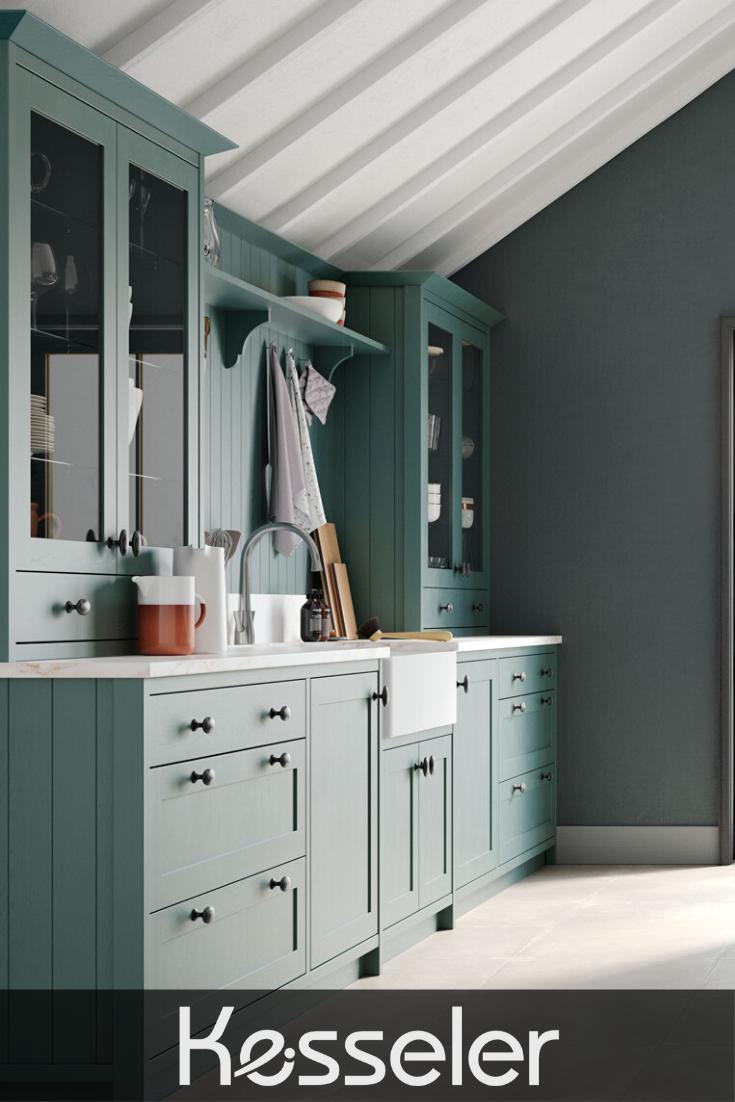 Beautiful traditional marine teal green Shaker kitchen ...