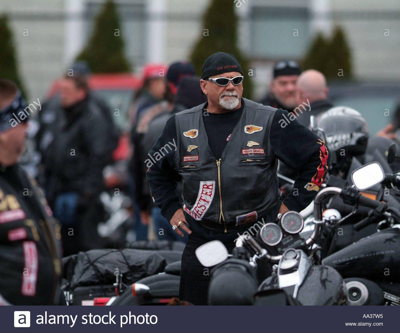 Hells Angels Funeral Motorcycle club members at funeral for member