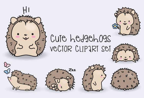 High quality vector clipart. Cute hedgehogs vector clip art. Perfect for creating greeting cards,invitations and stationery, decorating your: