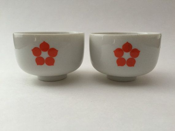 Vintage Japanese Sake/Tea Cups Orange Mod by IgnatiusGreyVintage