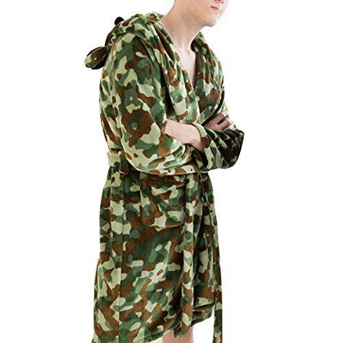 Tangda Men Classic Fleece Flannel Camouflage Hooded Bathrobe Robe - Size L  TANGDA http   dd764fdb3