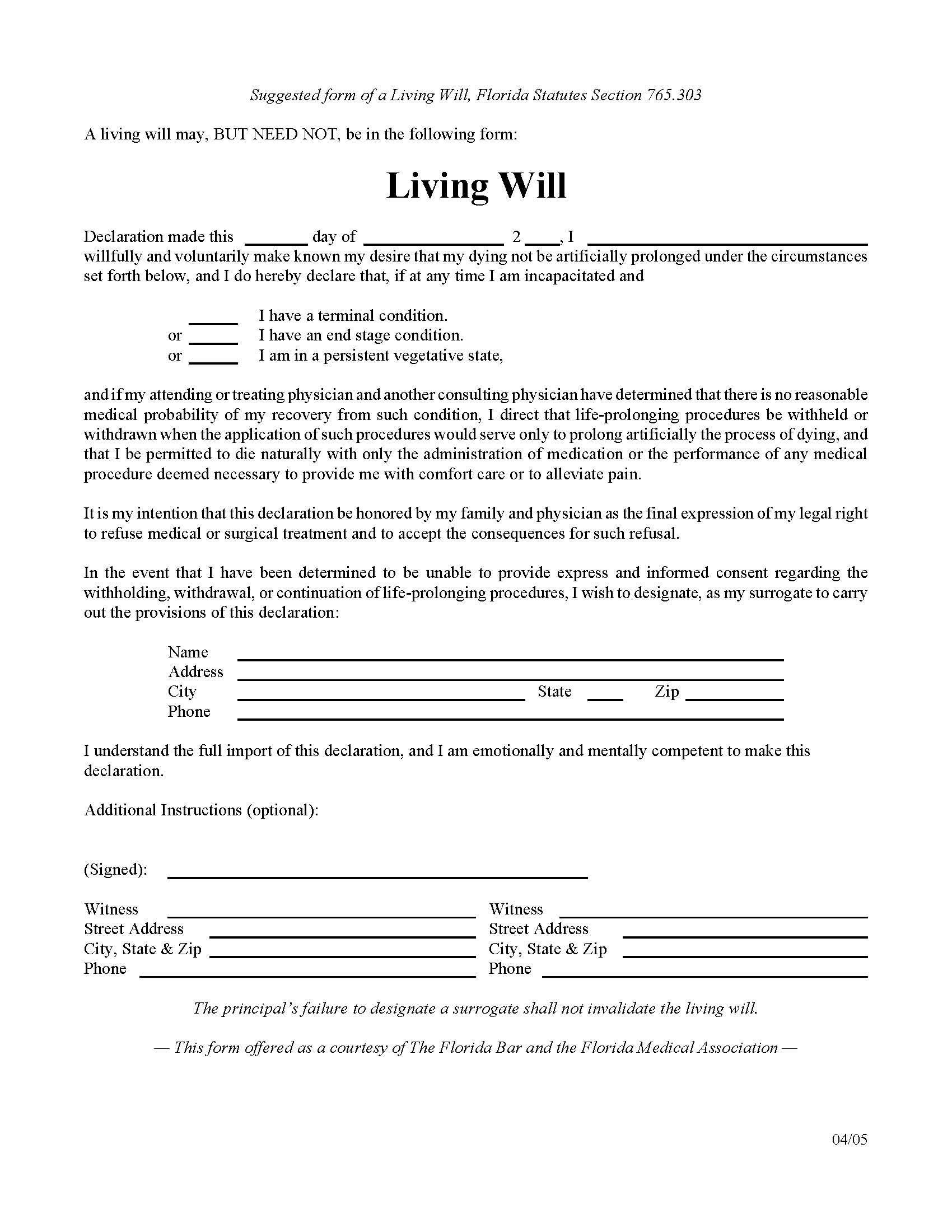 Florida Living Will Sample