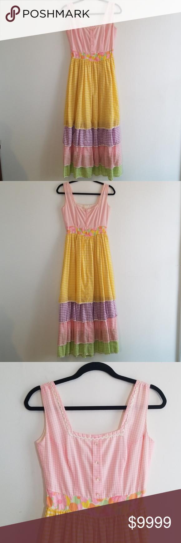 S vintage colorful gingham maxi dress