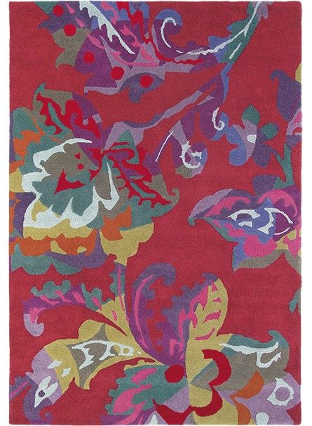 tapis salon de qualite motif fleuri kimono rouge de la collection brink and campman 550 - Tapis De Salon Rouge