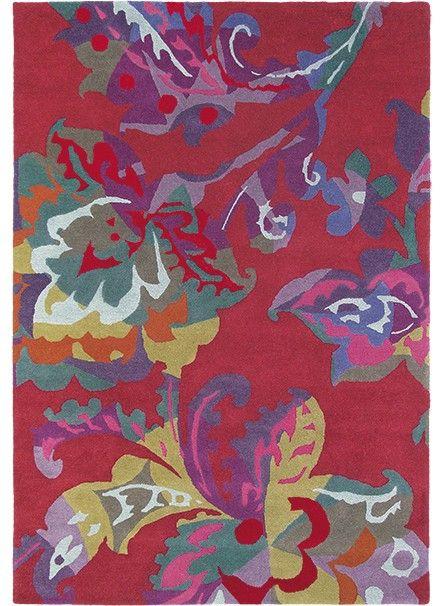 tapis salon de qualite motif fleuri kimono rouge de la collection brink and campman 550 - Tapis De Salon Rouge