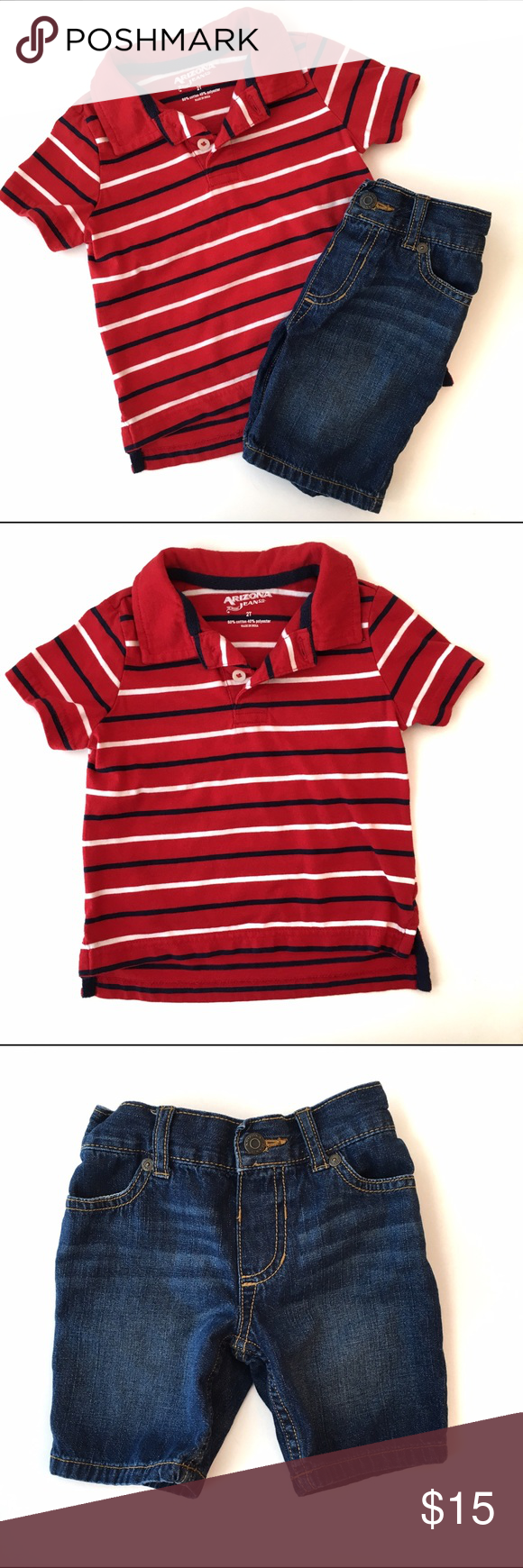 🚀 Arizona Jean Co Outfit 🚀 Arizona Jean Co Outfit includes red polo style shirt in red with navy and white striped and denim shorts. And elastic waist. In VGUC condition, one tiny mark on the shirt, see pictures, otherwise Outfit is in great condition.  🚀 from my nephews closet, smoke and pet free home 🚀 Arizona Jean Company Matching Sets