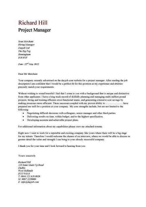 cover letter example - Covering Letter For Resume Samples