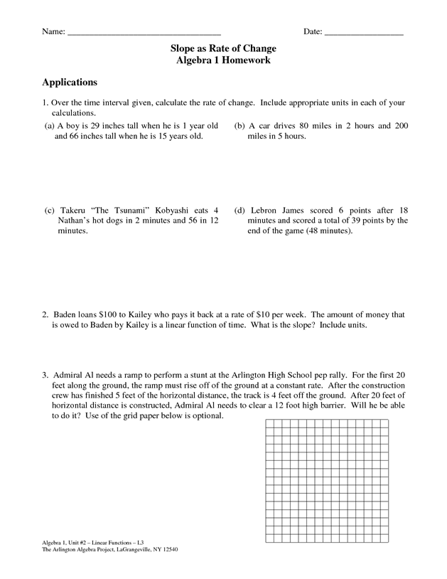 Rate Of Change Worksheet   worksheet