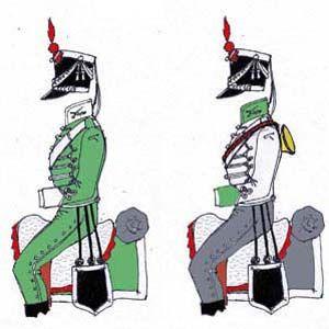Cazadores de Sagunto: Dolman y pantalon verde esmeralda, vuelta, chaleco y cuello blanco con palma y sable enlazados; boton blanco de cabeza de turco; capote gris, y chabrac verde esmeralda;pantalon de montar a la sajona; chacot y media bota