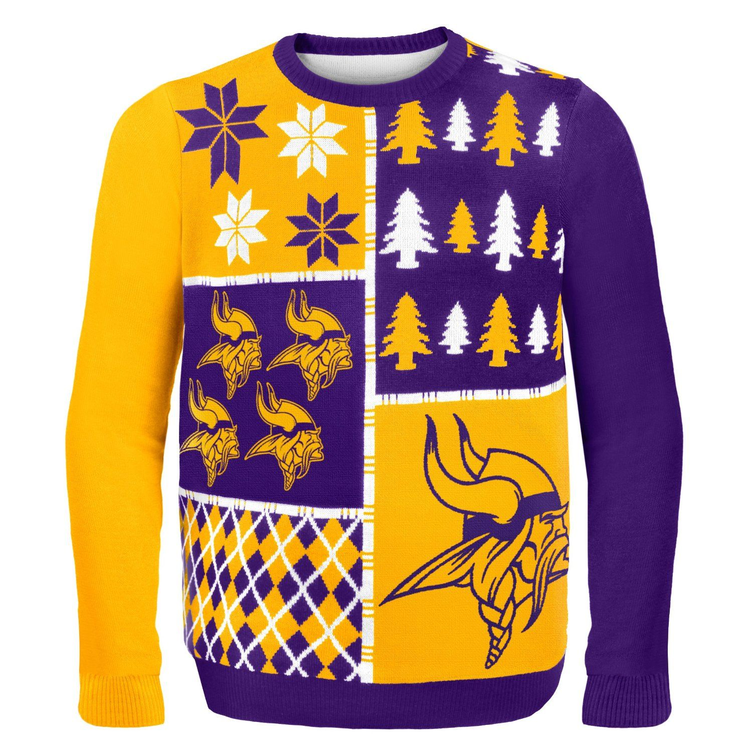NFL Busy Block Ugly Sweater – Minnesota Vikings | NFL-NFC North Ugly ...