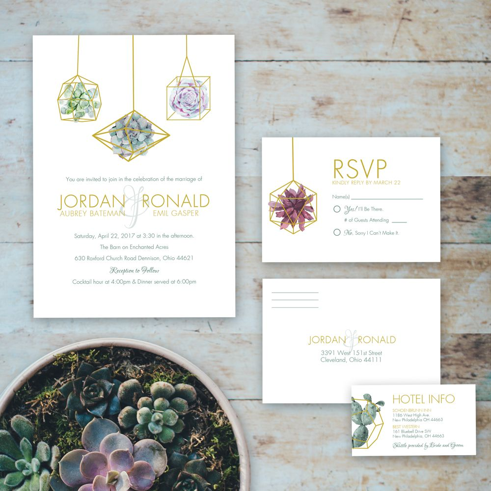 Wedding invitations with succulents designs by me weddings wedding invitations with succulents monicamarmolfo Image collections