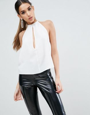6dc89e26cbc05 ASOS Tie Neck Halter Top with Deep Plunge