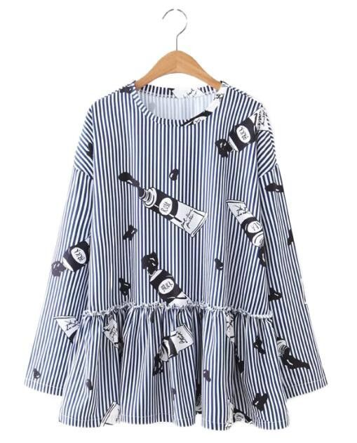 Women cute paint pattern striped loose blouse pleated ruffles blue white long sleeve shirts ladies casual tops blusas