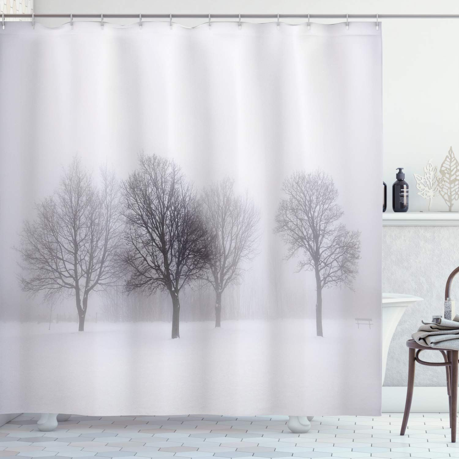 Printed Waterproof Shower Curtain Bathroom Decor Set with Hooks by Ambesonne