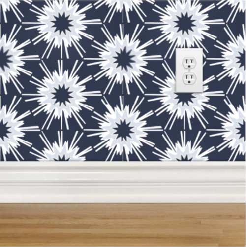 Neutral Colors For Small Powder Rooms: Navy Carolina Blue White Wallpaper, Small Bathroom