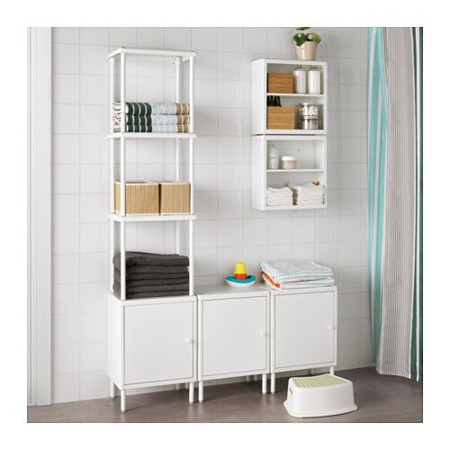 Bathroom Open Wall Shelves: DYNAN Shelving Unit With 3 Cabinets, White