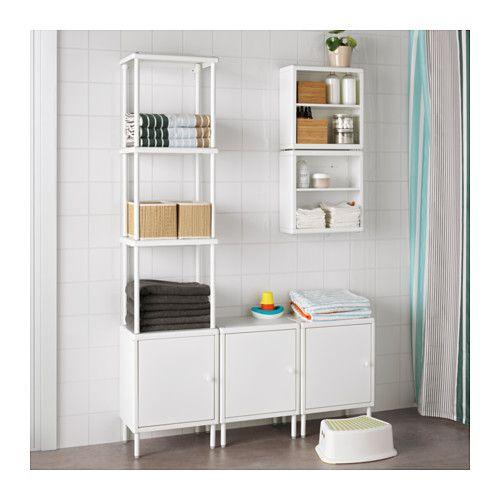 Ikea Bathroom Shelving Ideas: DYNAN Shelving Unit With 3 Cabinets, White