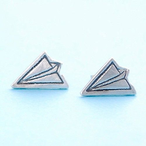 Handmade Gifts | Independent Design | Vintage Goods Paper Airplanes Stud Earrings - New Arrivals