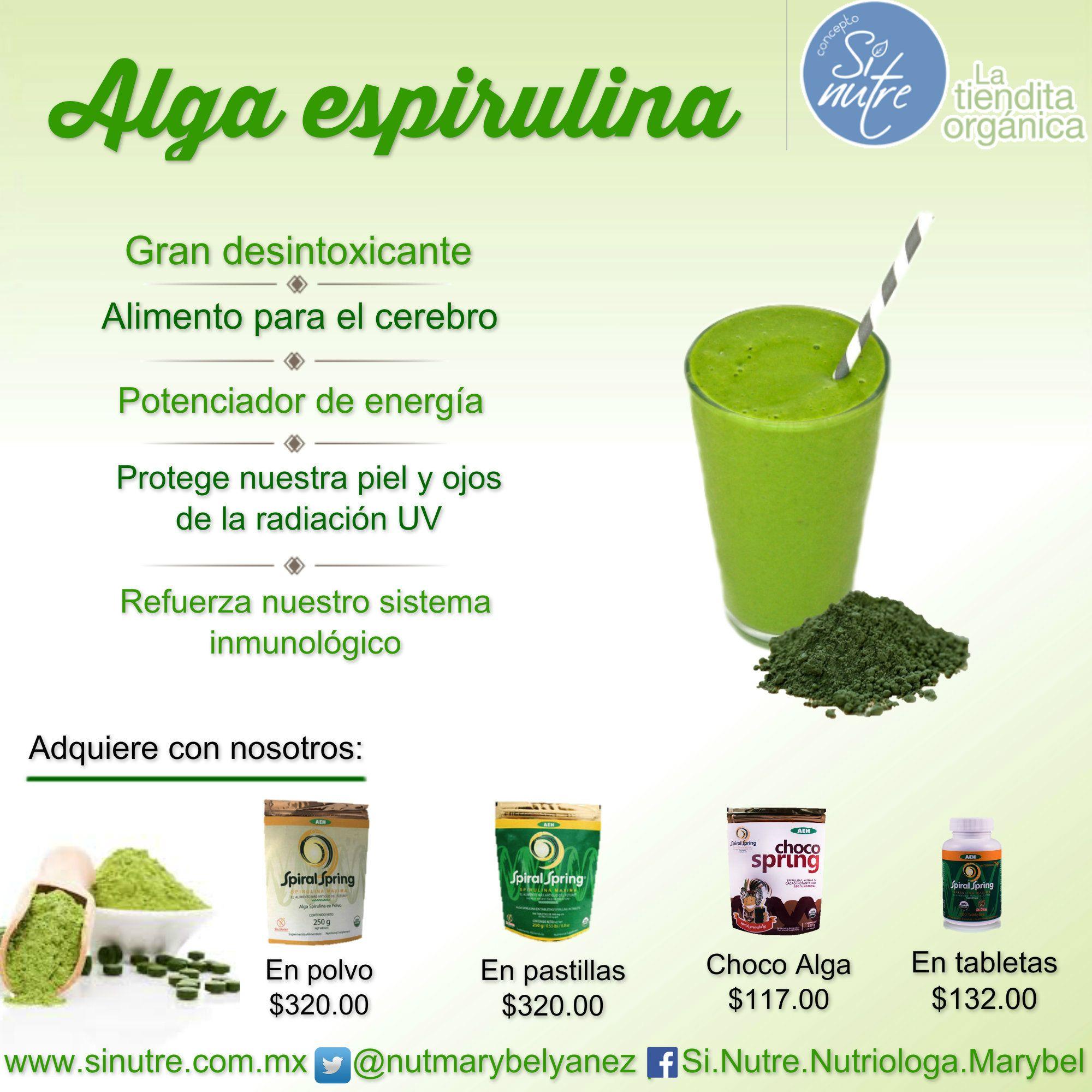 Beneficios Del Alga Espirulina De Venta En Sinutre Latienditaorgánica México Alimentos Organicos Alga Espirulina Espirulina