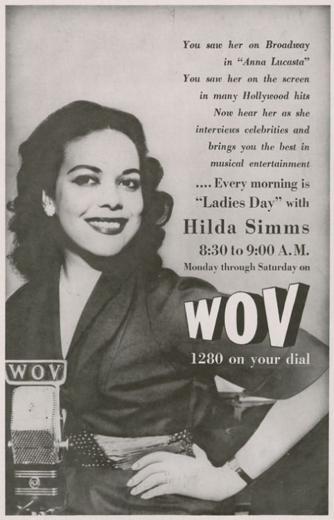 "Advertisement for morning radio program ""Ladies Day,"" hosted by Hilda Simms, on WOV, New York City, circa 1954."