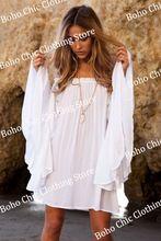 c92f16f6f Las mujeres de bohemia Boho Hippy Chic blanca playa ocasional túnica ...