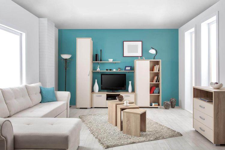 Farbige Wand Hinter Tv Turkis Weisse Decke Wohnzimmer Helle Holzmobel Interiors Farbige Wande Teal Wohnzimmer Wohnzimmer Farbe