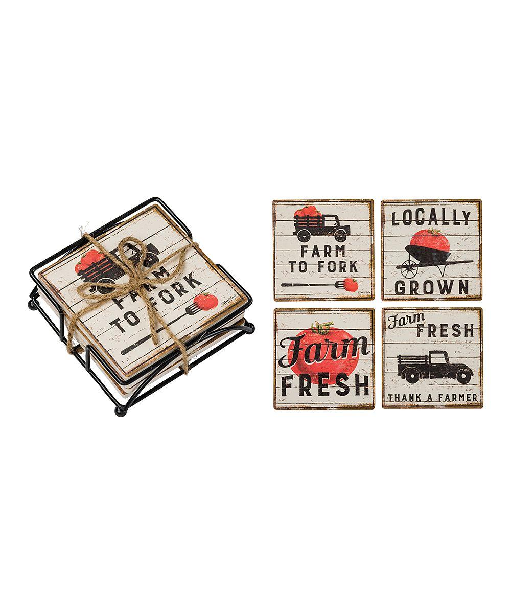 'Farm Fresh' Stone Coaster - Set of Four