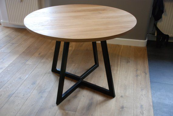 Extendable round table modern design steel and timber in 2019 ...