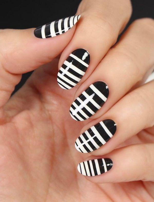 55 Stripes Nail Art Ideas | White nail polish and White nails