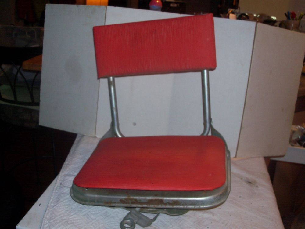 Fishing Chair Clamps Office Carpet Mat Cool Vtg Metal Folding Removable Boat Stadium W