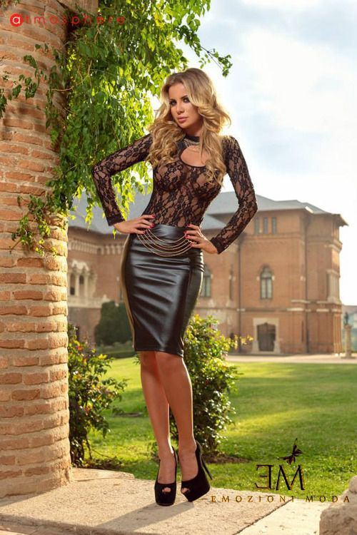 Black Leather Pencil skirt Black Lace Top and Black High Heels ...