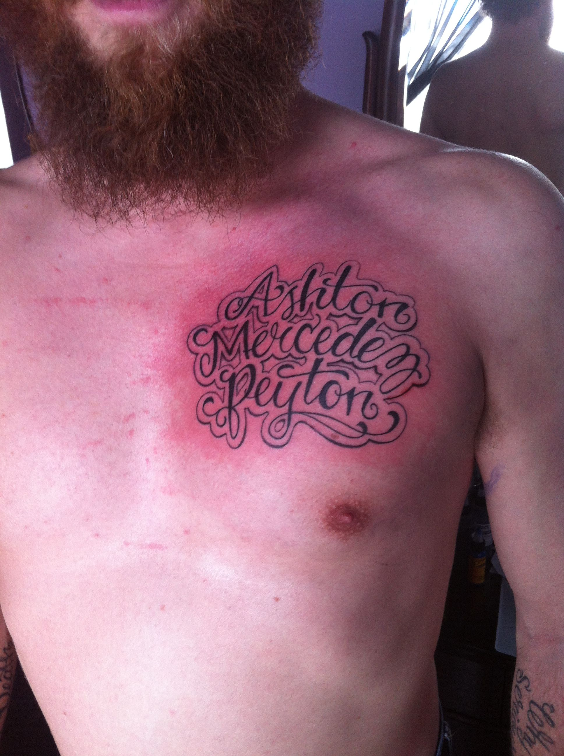 Chest Tattoo Of Kid S Names Tattoos With Kids Names Name Tattoos Name Tattoo Designs