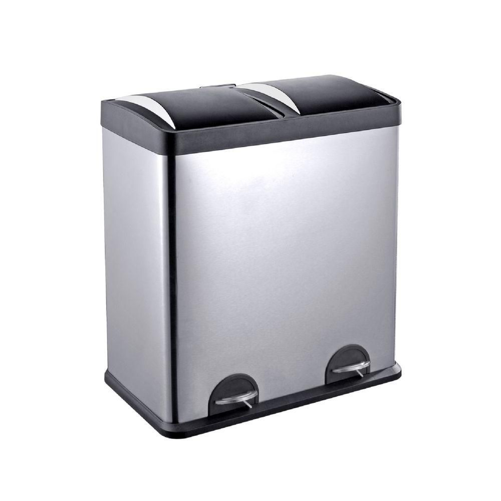 Home Depot Recycling Bins Step N' Sort 16Gal2Compartment Stainless Steel Trash Can And