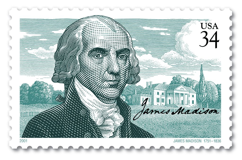 US Stamp 2001 - James Madison 4th US President 1809-1817