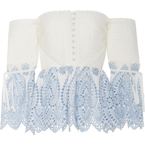 Self Portrait Off-The-Shoulder Lace Blouse ($375) ❤ liked on Polyvore featuring tops, blouses, white, white pintuck blouse, pintuck blouse, off shoulder blouse, white lace blouse and off the shoulder tops