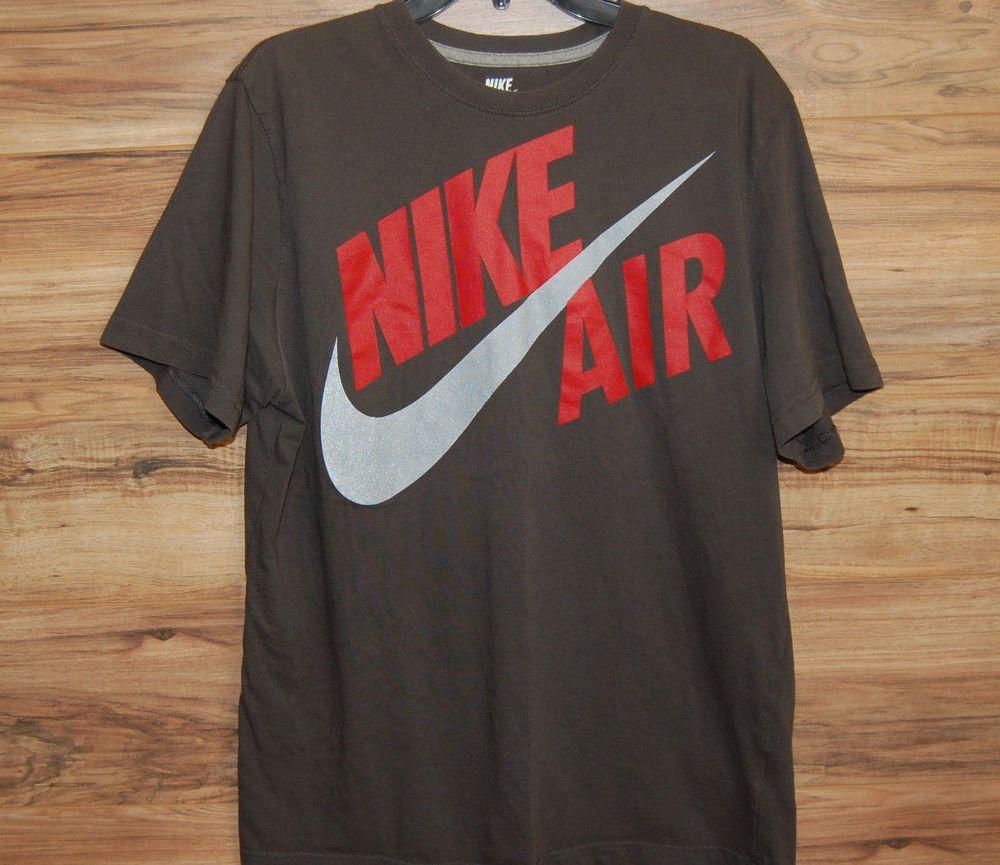8f66e7c0bd29 Nike Air Sportswear Mens Shirt Gray Red Graphic T Shirt Regular Fit Size XL   Nike  Shirt