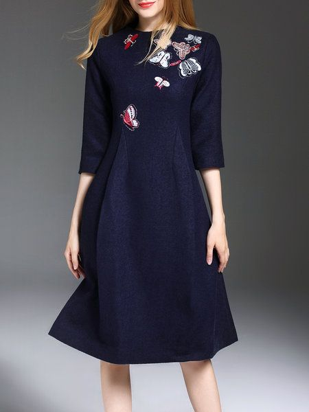 Formal Midi Dresses with 3 4 Sleeves