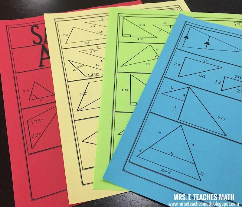 Similar Triangles Cut and Match Activity | Klasse