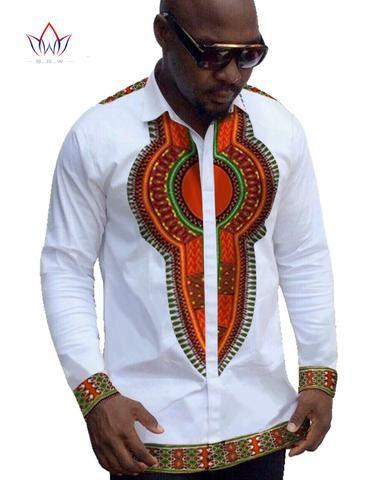 2851ac24db9 Traditional African Clothing Mens Casual Shirt Brand Clothing Mens Cotton  Shirt Dashiki Long Sleeve Men Plus Size 6XL BRW WYN152