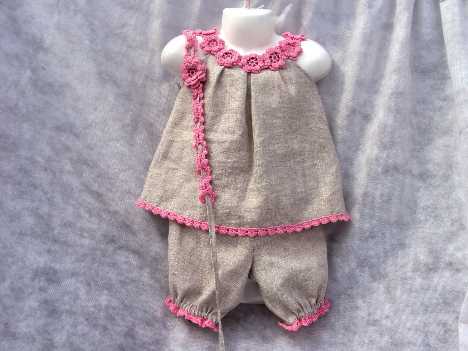 Linen/ flax Organic Babies\' Tops, Shorts/flowers/and headband ...