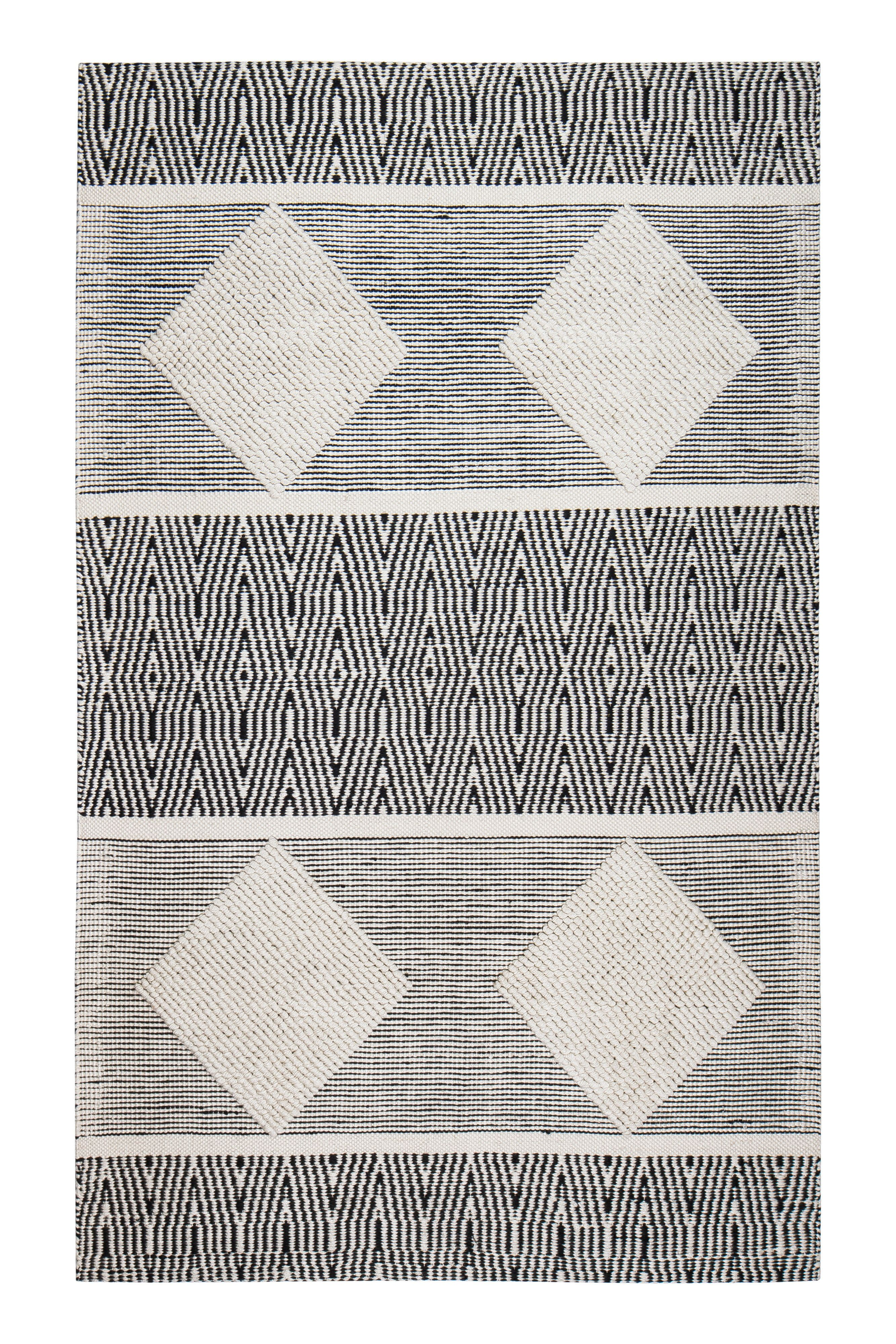 Hand Woven Black White Area Rug Tribal Area Rug White Area Rug
