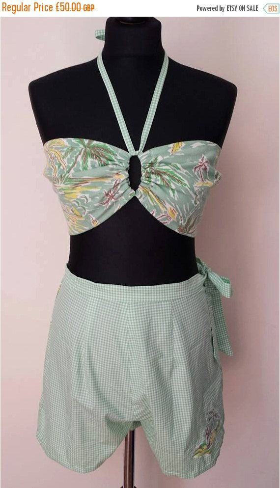 JAN SALE 1940s Vintage Style Two Piece Tropical by KittyLouVintage