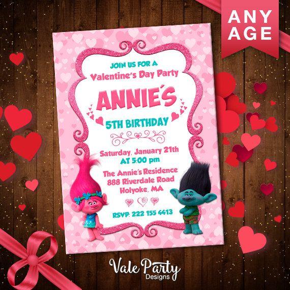 Trolls Invitation Trolls Valentines Day Card Trolls Birthday – Digital Birthday Party Invitations