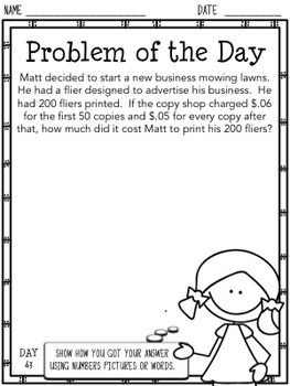 Problem of the Day: 5th Grade (Editable) | Math 5th | 5th ...