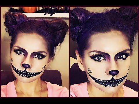 CREEPY CHESHIRE CAT Halloween Makeup Tutorial - YouTube Makijaż - cat halloween makeup ideas