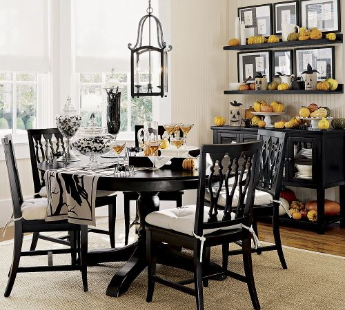 Cute And Elegant Dining Room Halloween Decorations. Little Pumpkins  Everywhere!