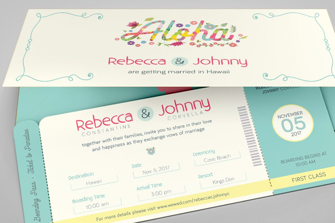 Hawaiian Wedding Boarding Pass Invitation Template Is For Any - Wedding invitation templates: boarding pass wedding invitation template