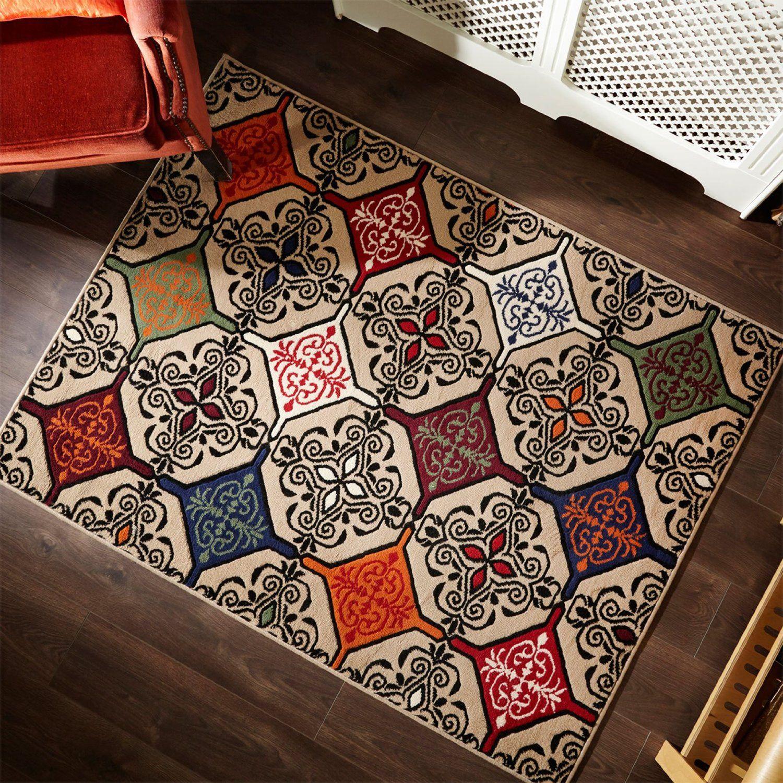 Just Contempo Moroccan Inspired Mosaic Floor Carpet Rug Mat Modern Retro Design 120x160cm Beige Co Uk Kitchen Home