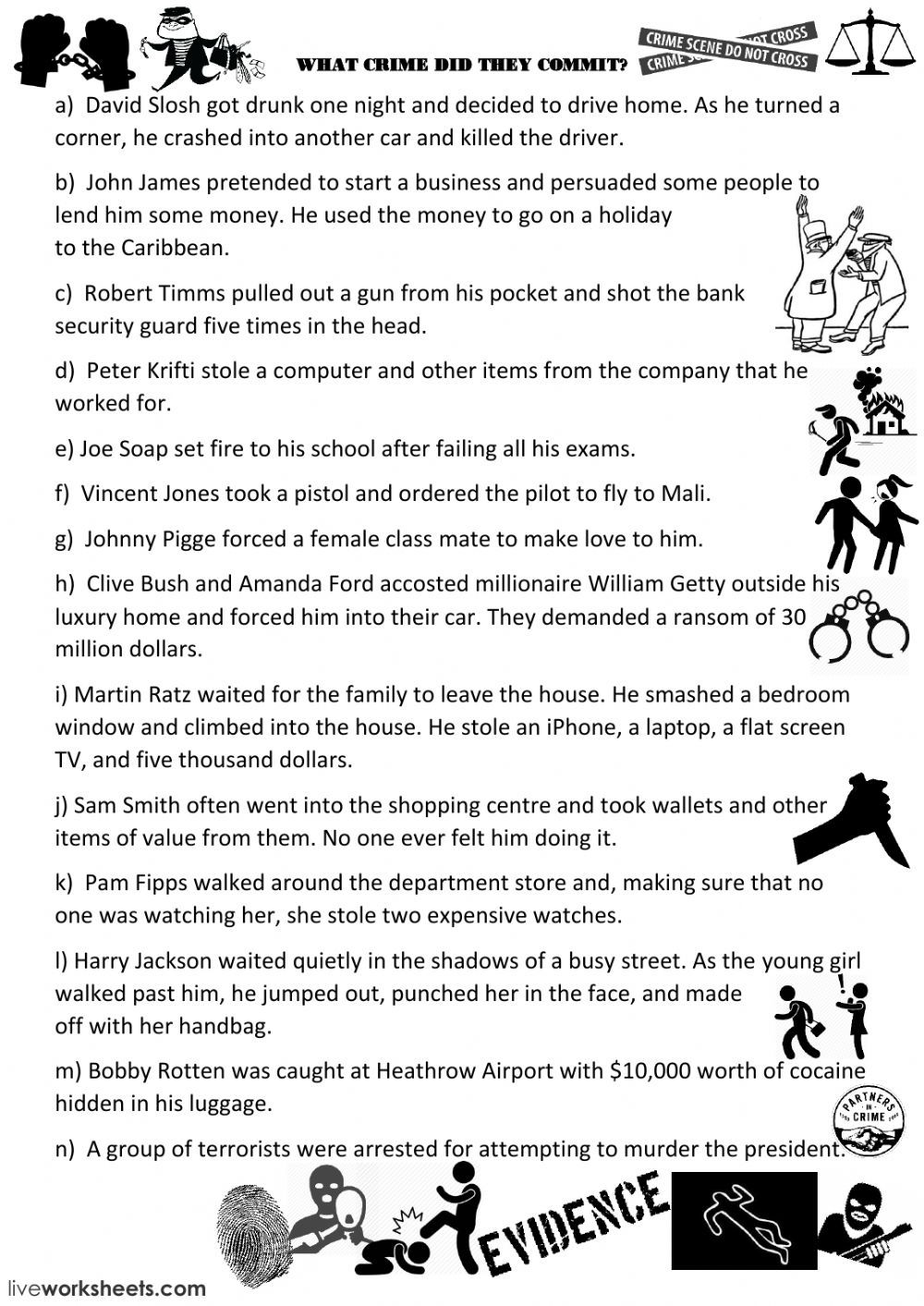 Crime Vocabulary Interactive And Downloadable Worksheet You Can Do The Exercises Online Or Download The Work Worksheet Template Worksheets Geometry Worksheets [ 1413 x 1000 Pixel ]